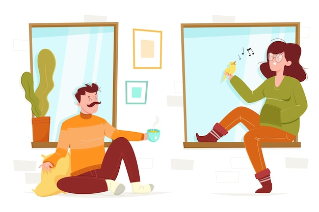 Ręcznie rysowane sceny stylu życia hygge