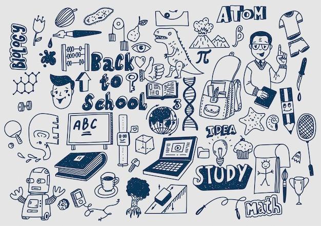 Ręcznie rysowane scketchy przybory szkolne gryzmoły nauka i edukacja