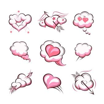 Ręcznie rysowane serca dla kart walentynki