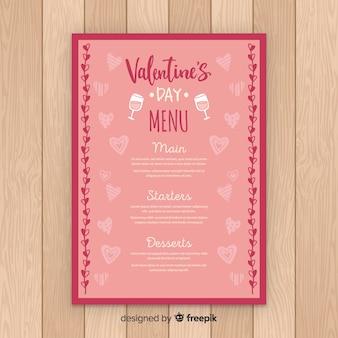 Ręcznie rysowane serca walentynki szablon menu
