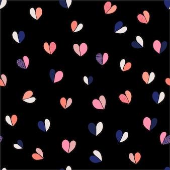 Ręcznie rysowane serca wzór bez szwu