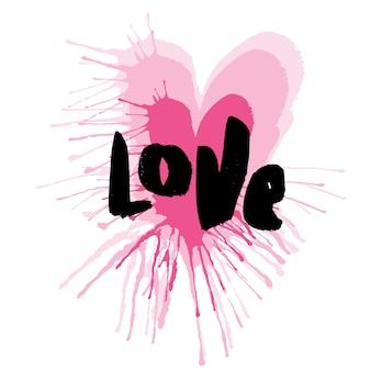 Ręcznie rysowane serca z napisem miłości. wektor typografii plakat, odzież t-shirt, druk, karty
