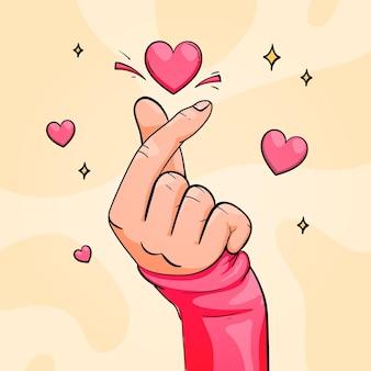 Ręcznie rysowane serce palec