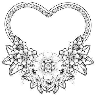Ręcznie rysowane serce z kwiatem mehndi. ozdoba w etniczne orientalne, doodle ornament. zarys ilustracji rysować ręka.