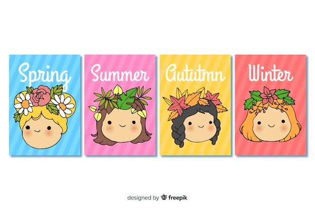 Ręcznie rysowane sezonowa kolekcja plakatów