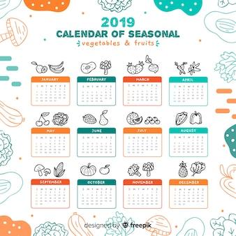 Ręcznie rysowane sezonowy kalendarz warzyw i owoców