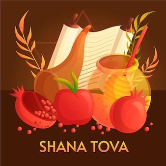 Ręcznie rysowane shana tova z jabłkami
