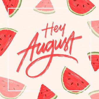 Ręcznie rysowane sierpień napis z owocami