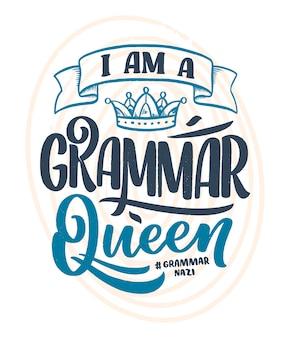 Ręcznie rysowane skład napis o gramatyce.