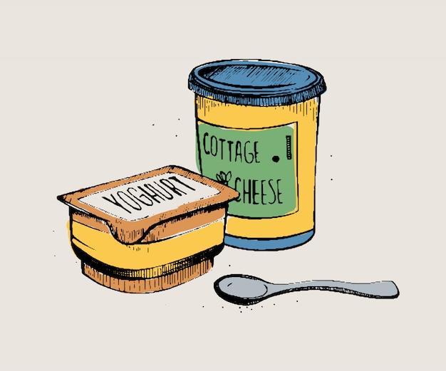 Ręcznie rysowane skład produktów mlecznych. pakowany jogurt i twarożek. kolorowa ilustracja na białym tle.