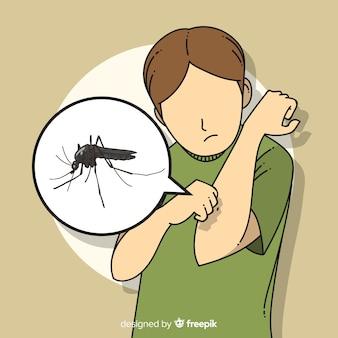 Ręcznie rysowane skład ukąszenia komara