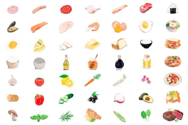 Ręcznie rysowane składniki żywności akwarela stylu
