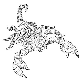Ręcznie rysowane skorpiona w stylu zentangle