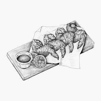 Ręcznie rysowane skrzydełka z kurczaka