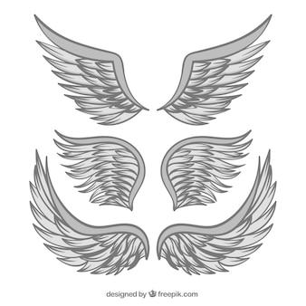 Ręcznie rysowane skrzydła o szarym kolorze