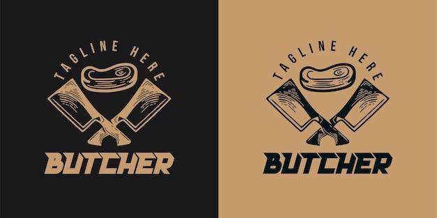 Ręcznie rysowane skrzyżowane mięso noża, projekt logo uboju