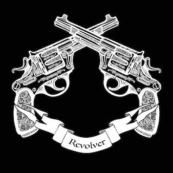 Ręcznie rysowane skrzyżowane pistolety ze wstążką