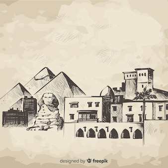 Ręcznie rysowane skyline cairo składu