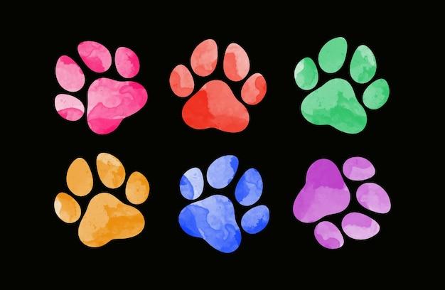 Ręcznie rysowane ślady zwierząt w kolorze wody sylwetka odcisku łapy