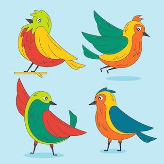 Ręcznie rysowane śliczne kolorowe rudziki zestaw