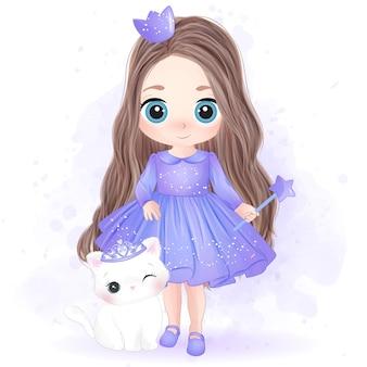 Ręcznie rysowane słodka mała księżniczka i kotek