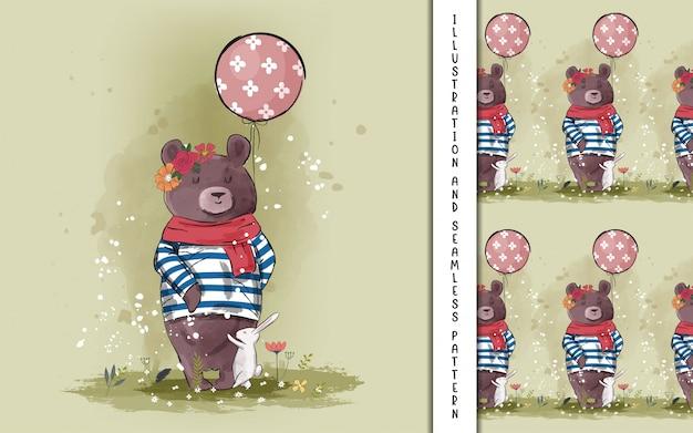 Ręcznie rysowane słodki miś z balonem dla dzieci
