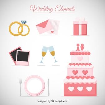 Ręcznie rysowane słodkie akcesoria ślubne kolekcja