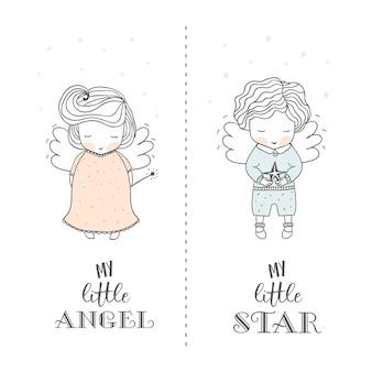 Ręcznie rysowane słodkie anioły