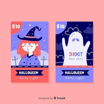Ręcznie rysowane słodkie bilety na halloween
