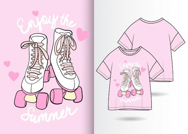 Ręcznie rysowane słodkie buty ilustracja z t shirt projekt