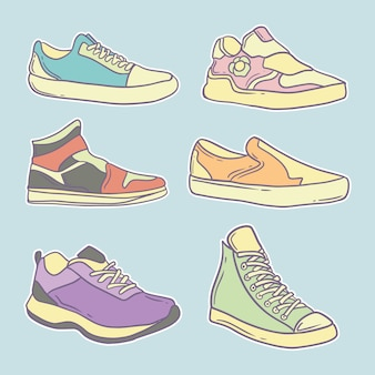 Ręcznie rysowane słodkie buty kolekcja ilustracji premium