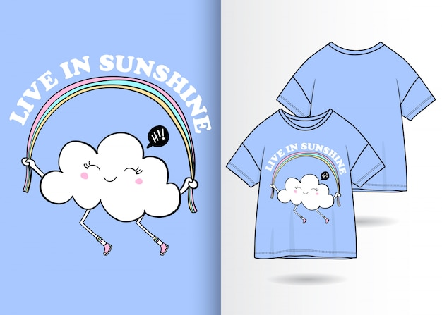 Ręcznie rysowane słodkie chmura ilustracja z t shirt projekt