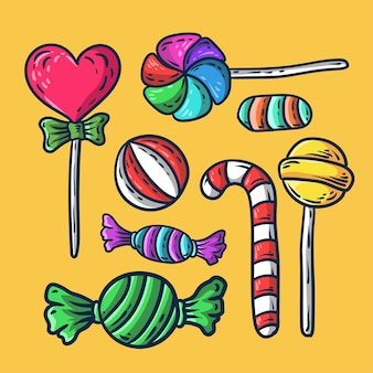 Ręcznie rysowane słodkie cukierki