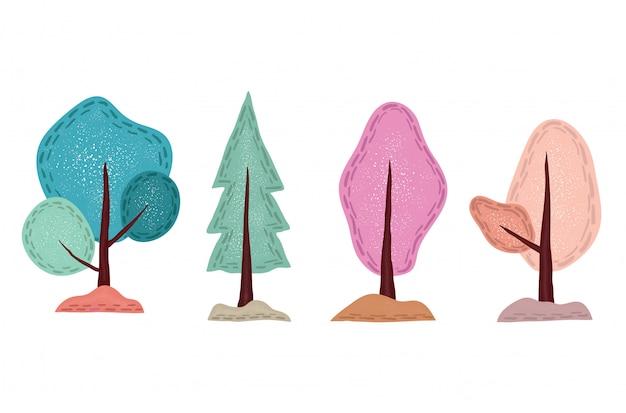 Ręcznie rysowane słodkie drzewo z wzorem