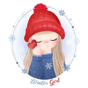 Ręcznie rysowane słodkie dziewczynki z akwarela ilustracja