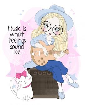 Ręcznie rysowane słodkie dziewczyny gry na gitarze