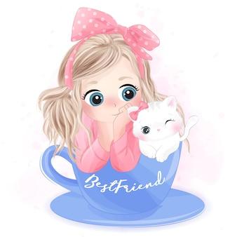 Ręcznie rysowane słodkie dziewczyny i kotek siedzi wewnątrz kubka
