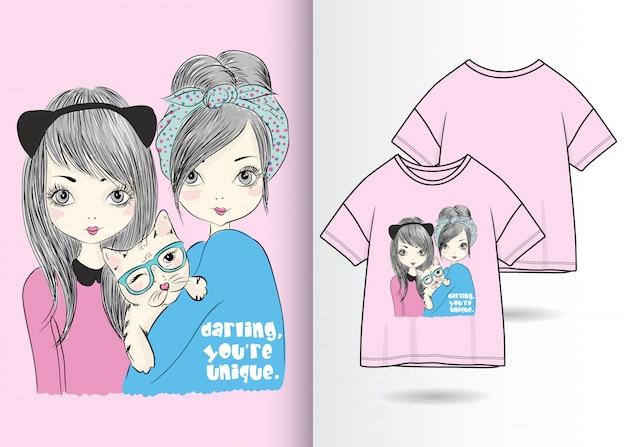Ręcznie rysowane słodkie dziewczyny ilustracja t shirt projekt
