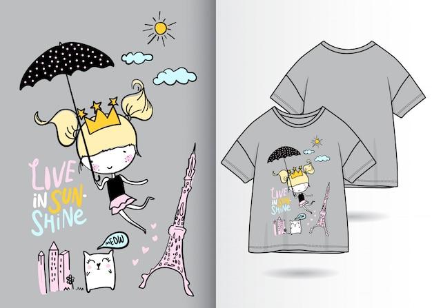 Ręcznie rysowane słodkie dziewczyny ilustracja z t shirt projekt