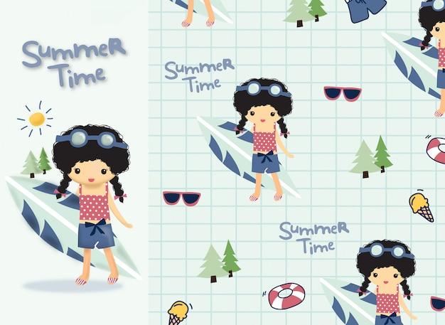 Ręcznie Rysowane Słodkie Dziewczyny Lato Premium Wektorów