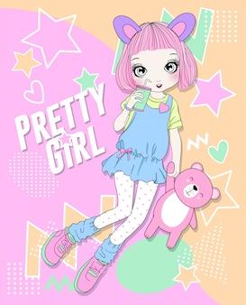 Ręcznie rysowane słodkie dziewczyny z kolorowym wzorem