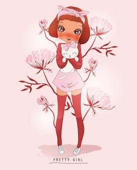 Ręcznie rysowane słodkie dziewczyny z kwiatami za