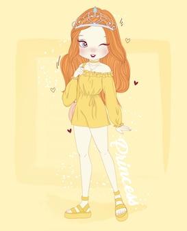 Ręcznie rysowane słodkie dziewczyny z tłem