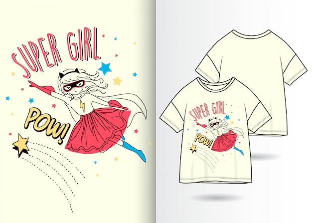 Ręcznie rysowane słodkie dziewczyny z tshirt