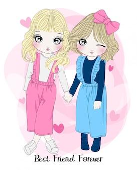 Ręcznie rysowane słodkie dziewczyny