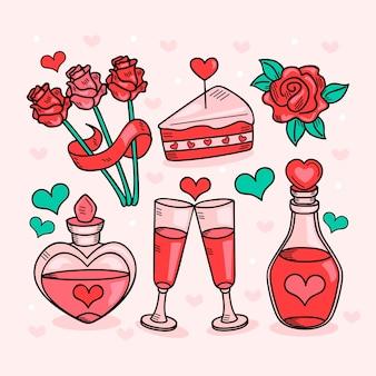 Ręcznie rysowane słodkie elementy kolekcji walentynki