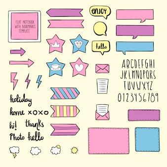 Ręcznie rysowane słodkie elementy notatniku