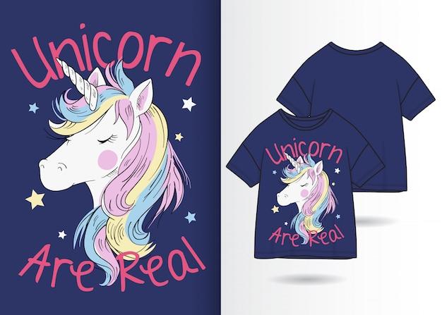 Ręcznie rysowane słodkie jednorożca ilustracja z t shirt design