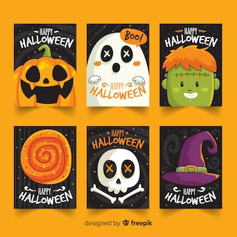 Ręcznie rysowane słodkie karty kolekcji halloween