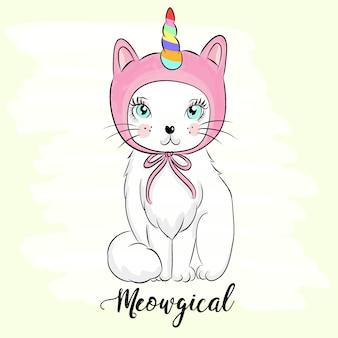 Ręcznie rysowane słodkie kotek ilustracja